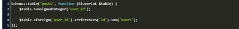 laravel reference foreign key Code Example