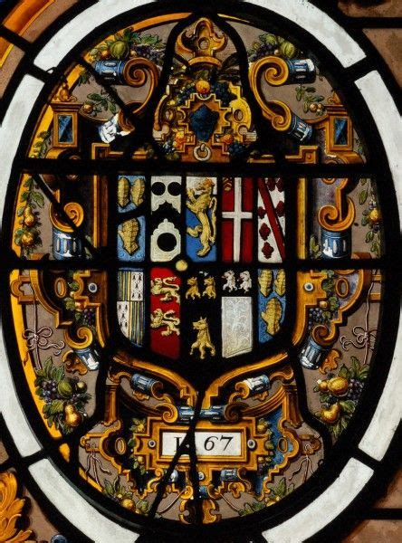 Detail from the large armorial window in the Despencer