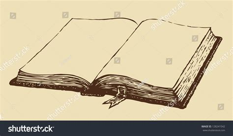 Vector Drawing Old Open Book Bookmark Stock Vector